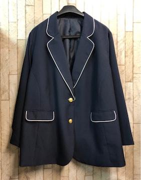 新品☆8Lテーラードジャケット紺ブレザー金ボタン☆n796