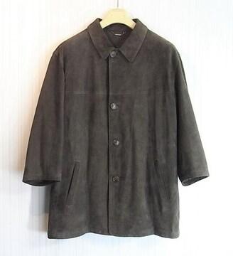 size52 フェラガモ 七分袖 カシミア裏地付きレザーコート