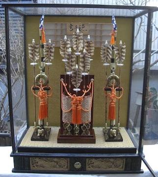 端午・正月飾り高級破魔弓2本矢10本飾中古品オルゴール