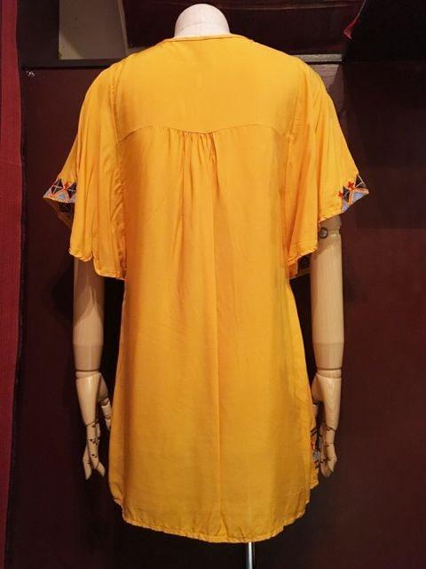 アジアン刺繍チュニック★ヒッピー★アジアン★ボヘミアン★黄色 < 女性ファッションの