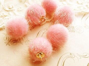 エコファーボールチャーム10個薄ピンク