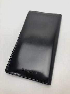 D283 ブルガリ 2つ折り 長財布 ブラック レザー 札入れ メンズ