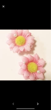 ピンク可愛いパール付き花クロックスジビッズ1セットヘアピン可