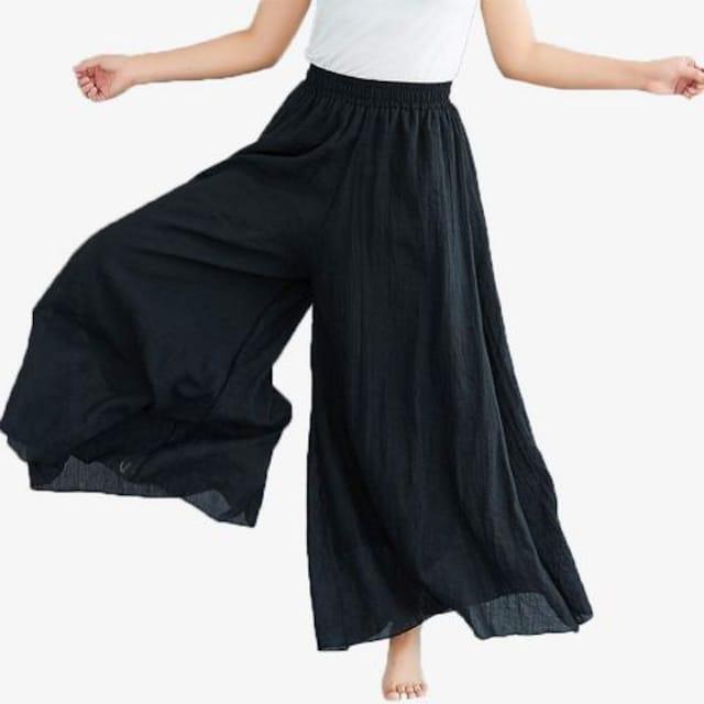 麻混 フレア ワイドパンツ(フリー・紺) < 女性ファッションの