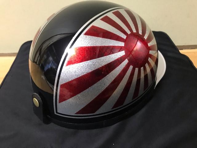 ラメ 日章 コルク半 ヘルメット 三段シート 風防 グリップ < 自動車/バイク