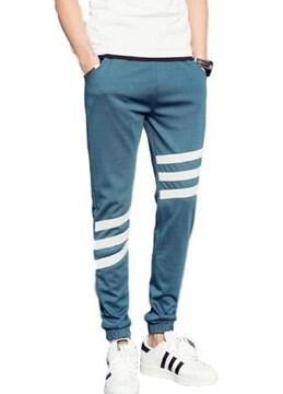 メンズ ジョガーパンツ スウェット 3本 ライン ブルー