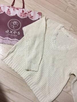 H136/axesfemme/ホワイト/セーター/