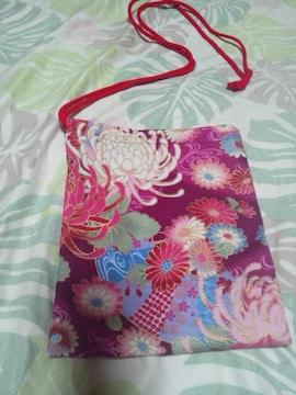 ☆新品赤紫×着物風流水に大輪花扇子和柄ナナメ掛巾着袋