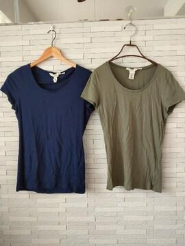 即決/H&M/半袖Tシャツ/2枚セット/レディース/カーキ/ネイビー/M