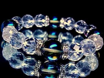 64面カット水晶12ミリ§ブルーオーラ14ミリ§銀ロンデル