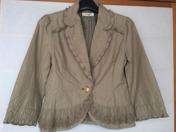 axes femme 七分袖 裾レースが可愛いジャケット M 上着 N2m