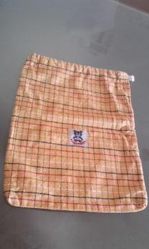 ティンカーベル巾着袋チェック柄シワ加工未使用