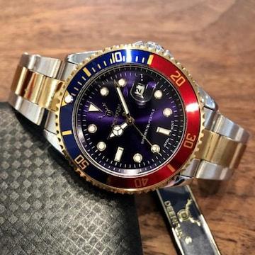 最安値!ロレックス・サブマリーナタイプ◇クォーツ メタル腕時計・紺×赤コンビ