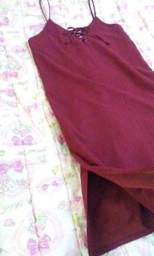 エムズエキサイト胸元編み上げリボン結び両裾サイドスリット入りジャンスカ