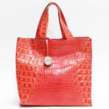 FURLAフルラ ハンドバッグ 型押しレザー 赤系 良品 正規品