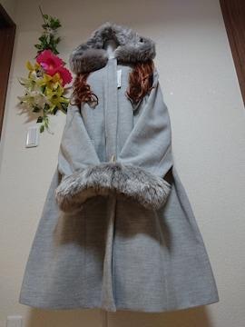 ★新品タグ6L★2WAY★フェイクファーコート¥16390