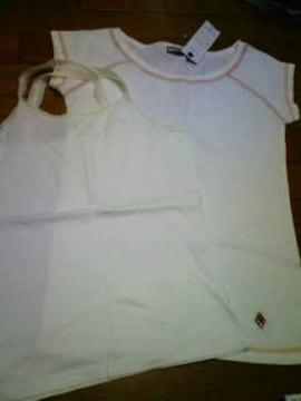 新品★『CAL Bear.キャミ  &  Tシャツ �A点set』白〓M