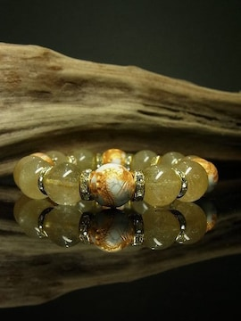 14mmハウライト四神獣ロンデル金針水晶数珠オラオラ