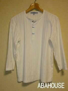 □アバハウス/ABAHOUSE 7分袖ヘンリー デザイン Tシャツ/メンズ