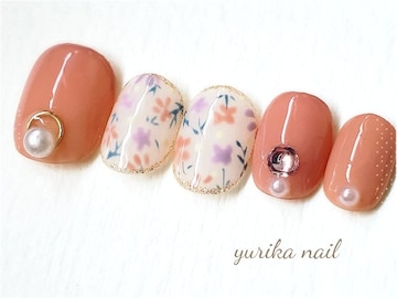 ジェル☆ベリーショート♪?コーラルピンク小花柄