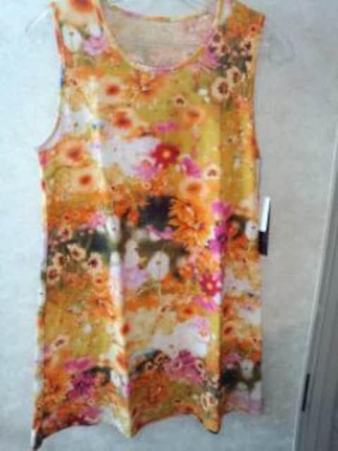 オレンジ花リアルプリントタンク型チュニックコットンM40サイズ < 女性ファッションの