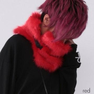 【DrugHoney】合皮ベルト付きファースヌード/レッド