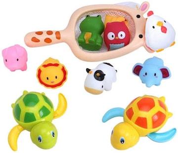 カラフル お風呂 おもちゃ シャワー 水遊び 水鉄砲 動物 魚網 ネ