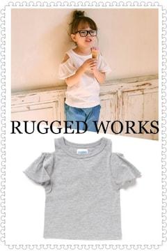 RUGGED WORKS【新品】オフショルダー半袖Tシャツ Grayグレー