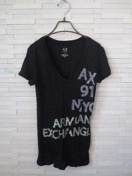 即決/ARMANI EXCHANGE/ロゴビジュー半袖Vネックシャツ/黒/S