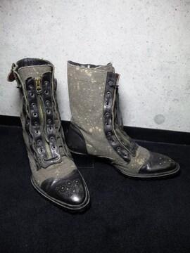 アルフレッドバニスターレースアップブーツ靴〓黒×グレー/39