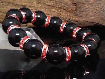 天然ブラックオニキス12ミリ§レッドロンデル数珠