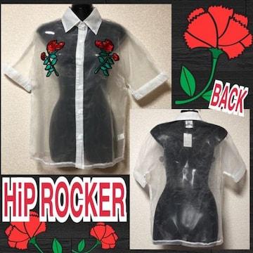 【新品/HiP ROCKER】オーガンジー薔薇刺繍入シャツ/ホワイト