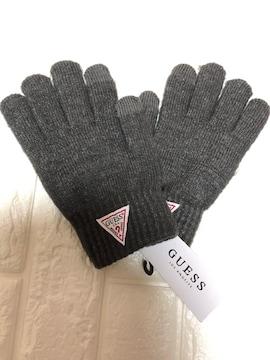 新品GUESSゲス ロゴ入りレディース手袋グローブ ダークグレー