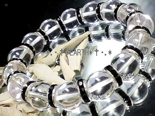 天然石★12ミリ高級天然水晶AAAクリスタル黒ロンデルオラオラ数珠 < 女性アクセサリー/時計の