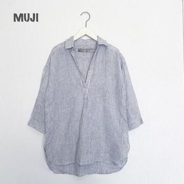 【MUJI】ストライプリネンシャツ 無印良品