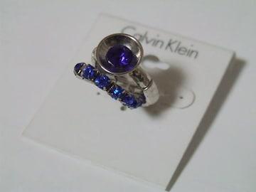 新品Calvin Klein カルバンクライン 青ストーン2連リング指輪