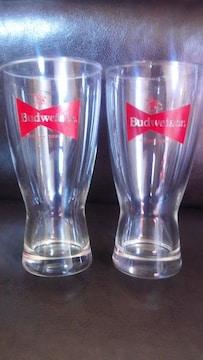 特価! Budweiserバドワイザーロゴ入りビアグラス2個セット