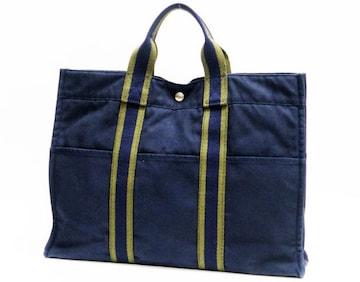 HERMESエルメス フールトゥMM トートバッグ 紺×緑 正規品