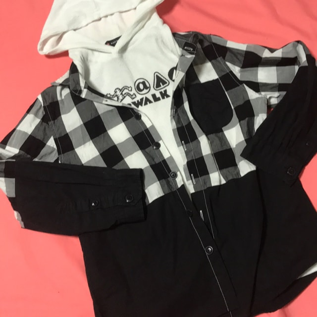 ♯AIRWALK♯フード半袖andチェックシャツ2点セット140エアウォーク  < キッズ/ベビーの